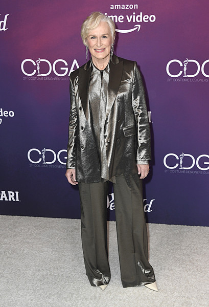 Glenn Close Pantsuit [suit,clothing,fashion,formal wear,pantsuit,outerwear,event,fashion design,carpet,shoe,arrivals,glenn close,costume designers guild awards,beverly hills,california,the beverly hilton hotel,cdga]