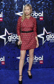 Laura Whitmore looked adorable in a red floral mini dress at the Global Awards 2020.