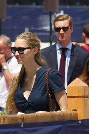 Beatrice Borromeo looked the epitome of french chic in her black rimmed square sunglasses whilst walking the streets of Cannes.