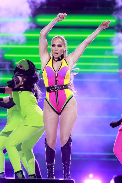 Jennifer Lopez donned a color-block bodysuit for her performance at the Global Citizen VAX LIVE.