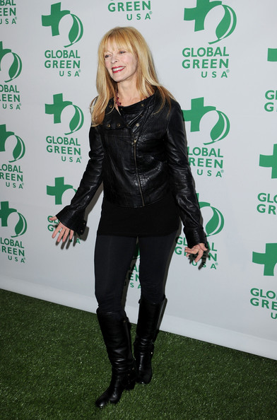 Frances goes all black at the pre-Oscar party in a tough motorcycle jacket and knee-high riding boots.