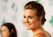 Maggie Grace wore her long locks in an intricate braided updo at the 9th Annual Global Green USA pre-Oscar party.