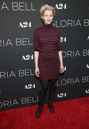 Gretchen Mol completed her fall-chic look with black knee-high boots.
