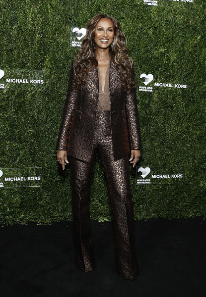 Iman looked sharp in a bronze pantsuit at the God's Love We Deliver Golden Heart Awards.