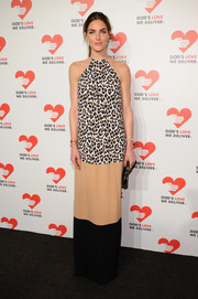 Hilary Rhoda chose a Michael Kors halter dress with leopard-print, nude, and black panels for the Golden Heart Awards.