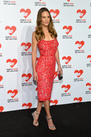 Hilary Swank was a stunner at the Golden Heart Awards in a red Michael Kors lace dress.
