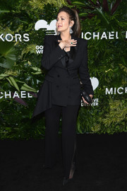 Lynda Carter opted for a black tuxedo with draped detail when she attended the Golden Heart Awards.