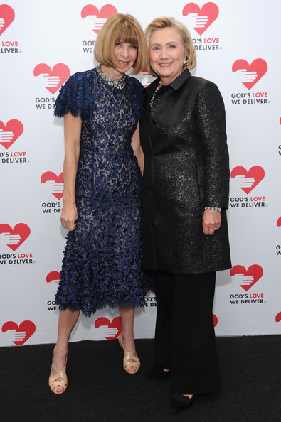 Hillary Clinton went for simple elegance with a black brocade evening coat and a pair of slacks during the Golden Heart Awards.