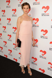 Elettra Wiedemann chose a 1920s-chic pink cocktail dress with a fringed hem for the Golden Heart Awards.