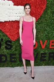 Hilary Rhoda looked impossibly svelte in a hot-pink spaghetti-strap dress by Michael Kors during the Golden Heart Awards.