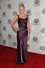 Dana Vollmer was a knock-out in this slinky purple gown at the 2011 Golden Goggles event in LA.