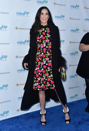 For her footwear, Demi Moore chose a pair of collared ankle-tie peep-toes.