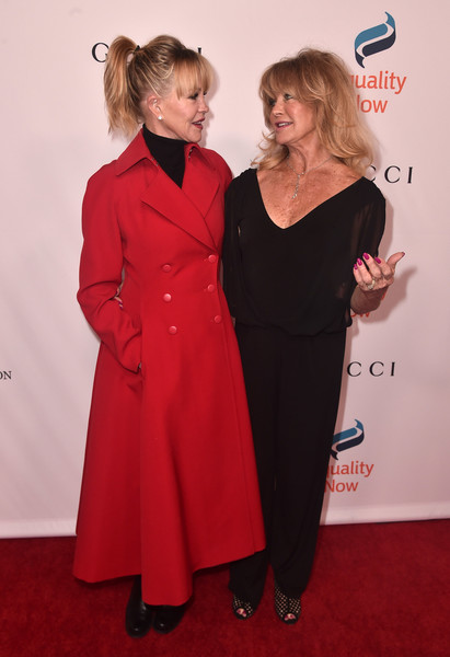 Goldie Hawn Jumpsuit [clothing,carpet,red carpet,red,premiere,dress,flooring,fashion,blond,event,arrivals,goldie hawn,melanie griffith,beverly hills,california,the beverly hilton hotel,equality now,annual make equality reality gala]