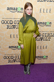 Genevieve Angelson went for a demure look in a long-sleeve chartreuse midi dress at the New York screening of 'Good Girls Revolt.'