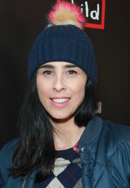 Sarah Silverman accessorized with a cute pompom beanie at the Good for a Laugh comedy fundraiser.