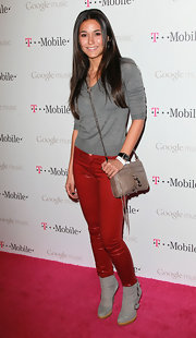 Emmanuelle Chriqui embraced the bold leather trend in a pair of slick red skinnies.
