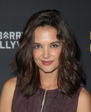 Katie Holmes looked fab with her teased waves at the grand opening of Barry's Bootcamp Hollywood.