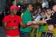 Oritse Williams looked laid-back and fun in his bright red tee.