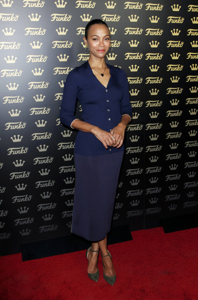Zoe Saldana kept it low-key in a fitted navy cardigan at the grand opening of Funko Hollywood.