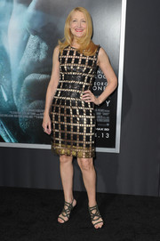 Patricia Clarkson looked downright sophisticated in a patterned black and gold cocktail dress during the premiere of 'Gravity.'