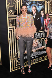 Jenna Lyons wore embellished gladiator heels with her outfit for a totally head-turning look during the 'Great Gatsby' premiere.