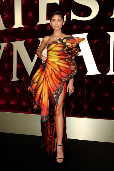 Zendaya Coleman fluttered into the Australian premiere of 'The Greatest Showman' wearing a strapless butterfly-print gown by Moschino.
