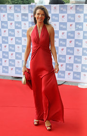 Annabel Croft looked stunning in a deep scarlet gathered halter dress.