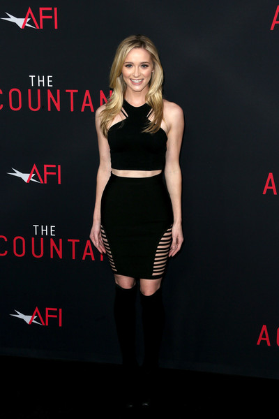Greer Grammer Mini Skirt [warner bros pictures,the accountant,clothing,dress,cocktail dress,little black dress,fashion model,shoulder,waist,fashion,joint,leg,greer grammer,arrivals,california,hollywood,tcl chinese theatre,premiere,premiere]