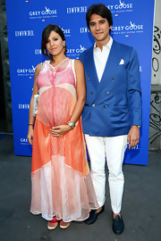 Margherita Missoni looked vibrant in a brightly colored maternity dress at the Grey Goose Le Loft L'Officiel party.