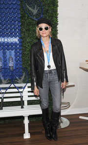 Diane Kruger was rocker-chic in a black leather jacket at the Grey Goose #HoneyDeuce Season event.