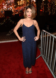 Sarah Hyland went for a classic and simple look in a blue lace dress with delicate straps at The Grove Christmas celebration