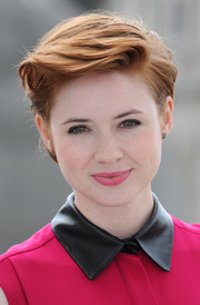 Karen Gillan looked cool with her sculpted short 'do at the 'Guardians of the Galaxy' photocall in London.