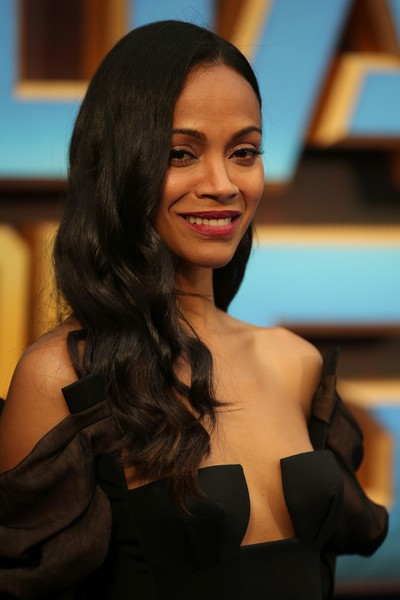 Zoe Saldana looked fetching with her long wavy hairstyle at the 'Guardians of the Galaxy Vol. 2' European gala screening.
