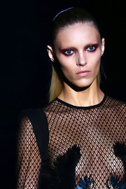 Anja Rubik looked Goth at the Gucci fashion show with her heavily made-up eyes.