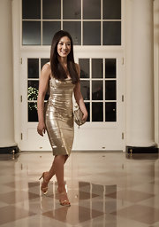 Michelle went for the gold in a sequined cocktail dress at the White House State Dinner.