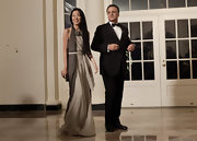 Vera Wang attended the White House State Dinner in a two-toned chiffon evening gown with a large neck piece.