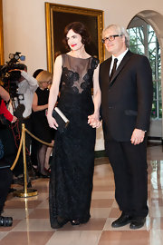 Elizabeth McGovern wore this black embroidered column dress to the White House State Dinner.