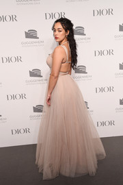 Jorja Smith rocked a pale pink Dior Couture tulle gown with an open back at the Guggenheim International Gala Dinner.