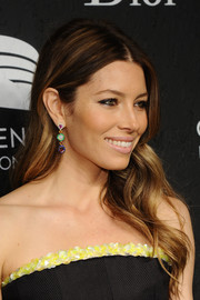 Jessica Biel finished off her look with a pair of colorful dangling gemstone earrings by Christian Dior.