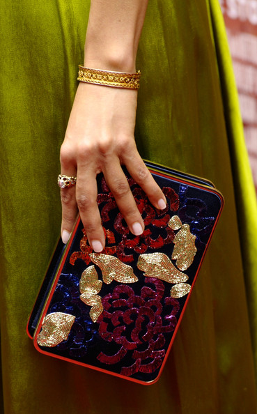 Gugu Mbatha-Raw Beaded Clutch [red,nail,finger,fashion,hand,fashion accessory,material property,jewellery,magenta,nail care,belle,gugu mbatha-raw,clutch detail,new york,the paris theatre,premiere,premiere]