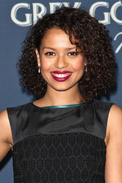 Gugu Mbatha-Raw Dangling Diamond Earrings [hair,hairstyle,black hair,ringlet,lip,shoulder,long hair,brown hair,cocktail dress,lace wig,red carpet,gugu mbatha-raw,getty house,los angeles,california,hollywood reporter,the hollywood reporter,nominees night 2012,a celebration of the 84th annual academy awards,a celebration]
