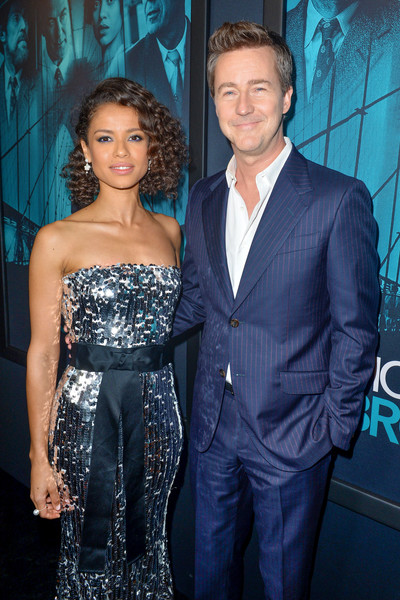 Gugu Mbatha-Raw Pearl Ring [warner bros pictures,motherless brooklyn,suit,premiere,dress,formal wear,event,fashion,tuxedo,cocktail dress,strapless dress,fashion design,red carpet,edward norton,gugu mbatha-raw,california,los angeles,premiere of warner bros pictures motherless brooklyn,premiere]