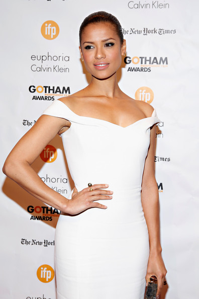 Gugu Mbatha-Raw Pearl Ring [shoulder,clothing,dress,cocktail dress,skin,beauty,hairstyle,fashion model,joint,premiere,new york city,cipriani wall street,gotham independent film awards - arrivals,gugu mbatha-raw]