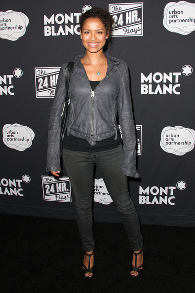 Gugu Mbatha-Raw Strappy Sandals [the 24 hour plays,clothing,jacket,leather,outerwear,leather jacket,textile,denim,event,premiere,style,gugu mbatha-raw,montblanc presents,a benefit for urban arts partnership,los angeles,the shore hotel,santa monica,california]