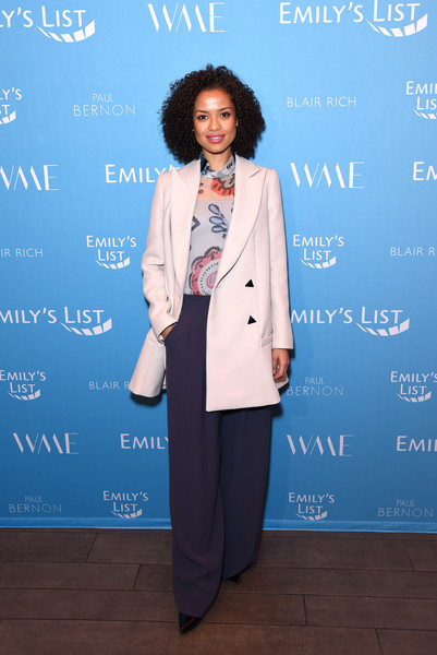 Gugu Mbatha-Raw Wide Leg Pants [clothing,suit,fashion,pantsuit,formal wear,outerwear,fashion design,event,blazer,tuxedo,gugu mbatha-raw,raising our voices: supporting more women in hollywood politics,los angeles,california,four seasons hotel,beverly hills]