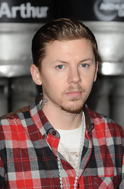 Professor Green slicked back his hair for a clean finish during an Arthur's Day celebration.