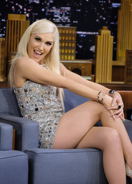 Gwen Stefani teamed some silver bangles with an embellished mini dress for her appearance on 'Jimmy Fallon.'