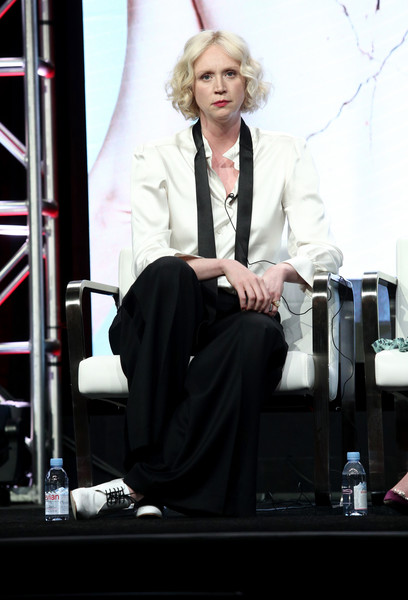 Gwendoline Christie Button Down Shirt [top of the lake: china girl,blond,performance,event,photography,long hair,sitting,white-collar worker,fashion design,gwendoline christie,the beverly hilton hotel,beverly hills,california,tca,sundancetv,portion,summer television critics association press tour]