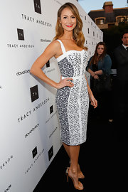 Stacy Keibler chose this white and navy frock, featuring both jacquard and eyelet panels, for her evening look at Tracy Anderson's flagship studio opening.