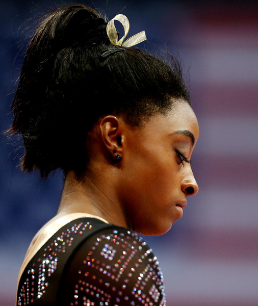 Simone Biles styled her hair into a high ponytail for the 2018 U.S. Gymnastics Championships.